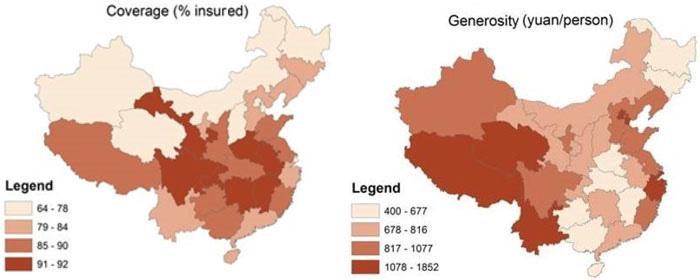 图1:医保的省际差异(2007-2010)